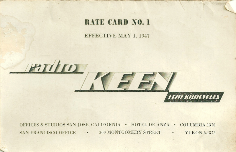 The first advertising rate card issued by KEEN (1370 AM) in 1947