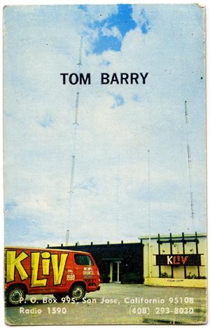 Tom Barry - KLIV Business Card