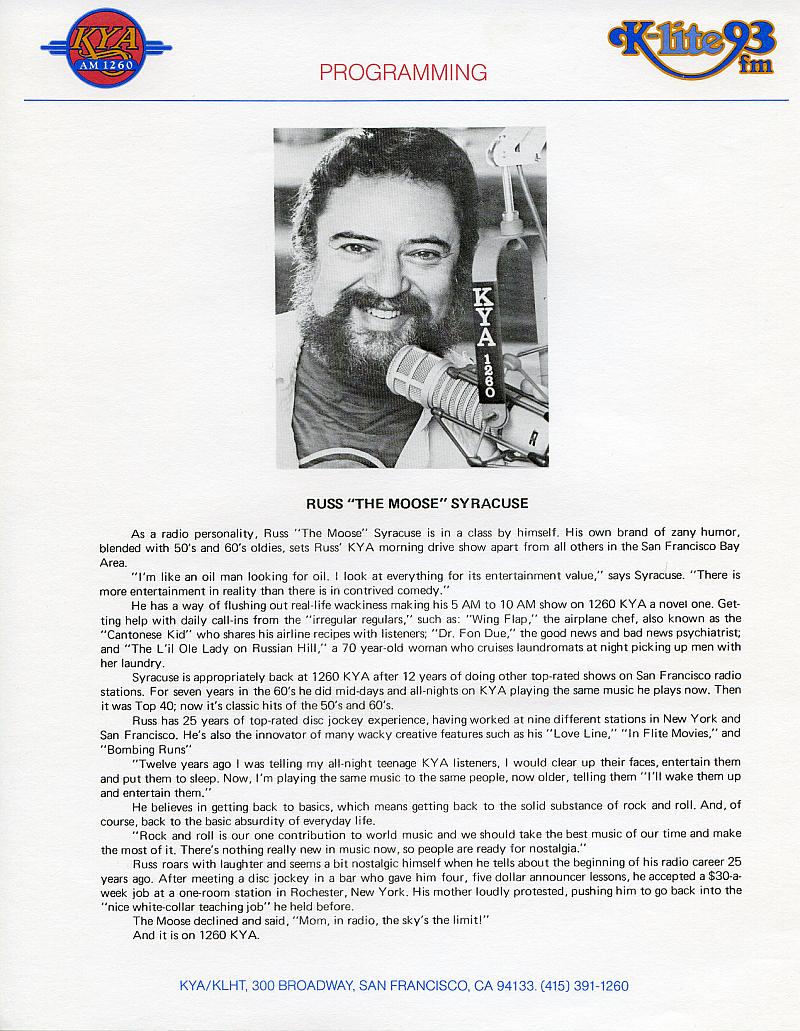 Russ Syracuse KYA Bio Sheet