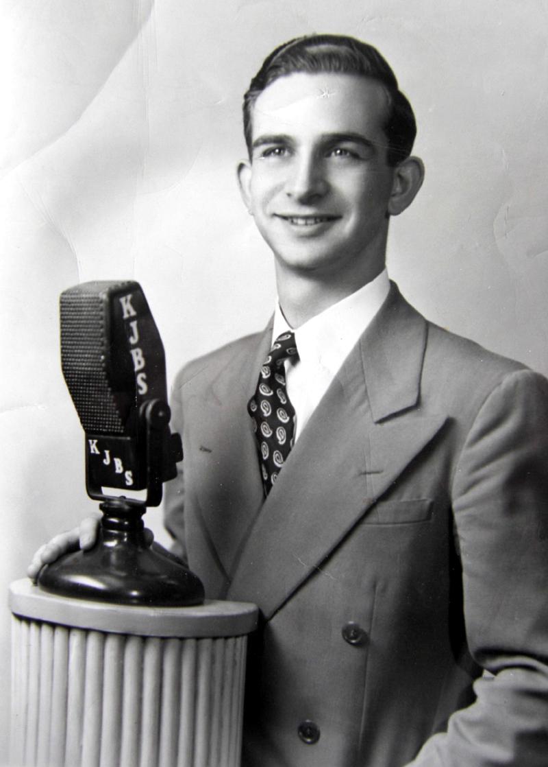 Bruce Sedley at KJBS, 1945 (Photo)