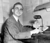 Bruce Sedley at the KROW Radio news desk in Oakland, 1947 [Click to enlarge]