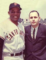 BARHOF '09 enshrinee Hank Greenwald (right) with Willie Mays