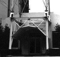 Entrance to KJBS studios at 1470 Pine Street in San Francisco, under the base of the station's transmitter tower. (Click for enlargement)