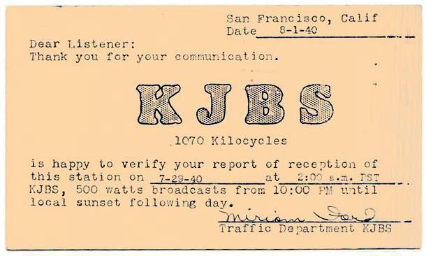 KJBS QSL Card (Image, August 1940)