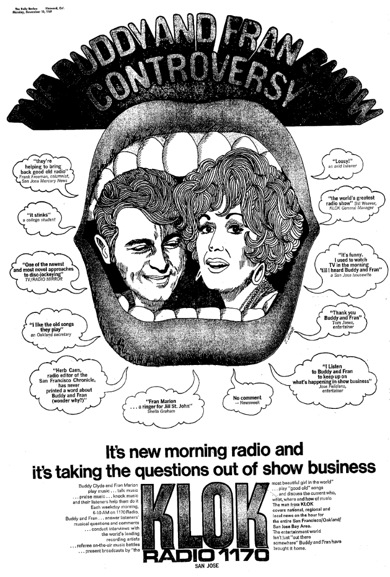 Buddy and Fran Print Ad (Nov. 10, 1969)