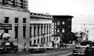 KSFO moved up to Nob Hill and into the Fairmont in 1955. (Click to enlarge)