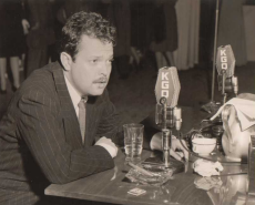 The legendary Orson Welles appears before KGO microphones in the 1940s