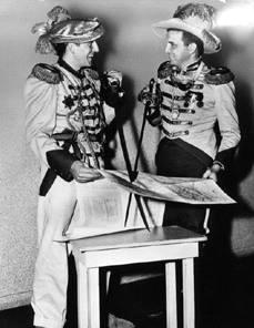 Don Sherwood (l) and Hap Harper in full military regalia.