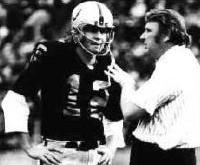 Raiders quarterback Kenny Stabler (left) and head coach John Madden.