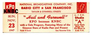 Ticket to the KPO Hail & Farewell Broadcast